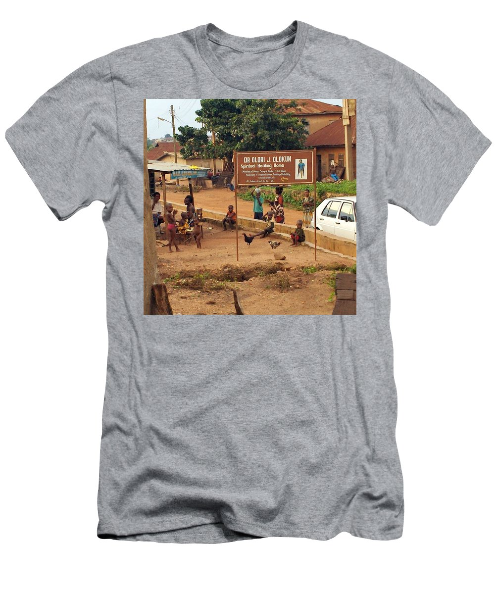 Nigeria Men's T-Shirt (Athletic Fit) featuring the photograph A Nigerian Doctor's Office by Amy Hosp