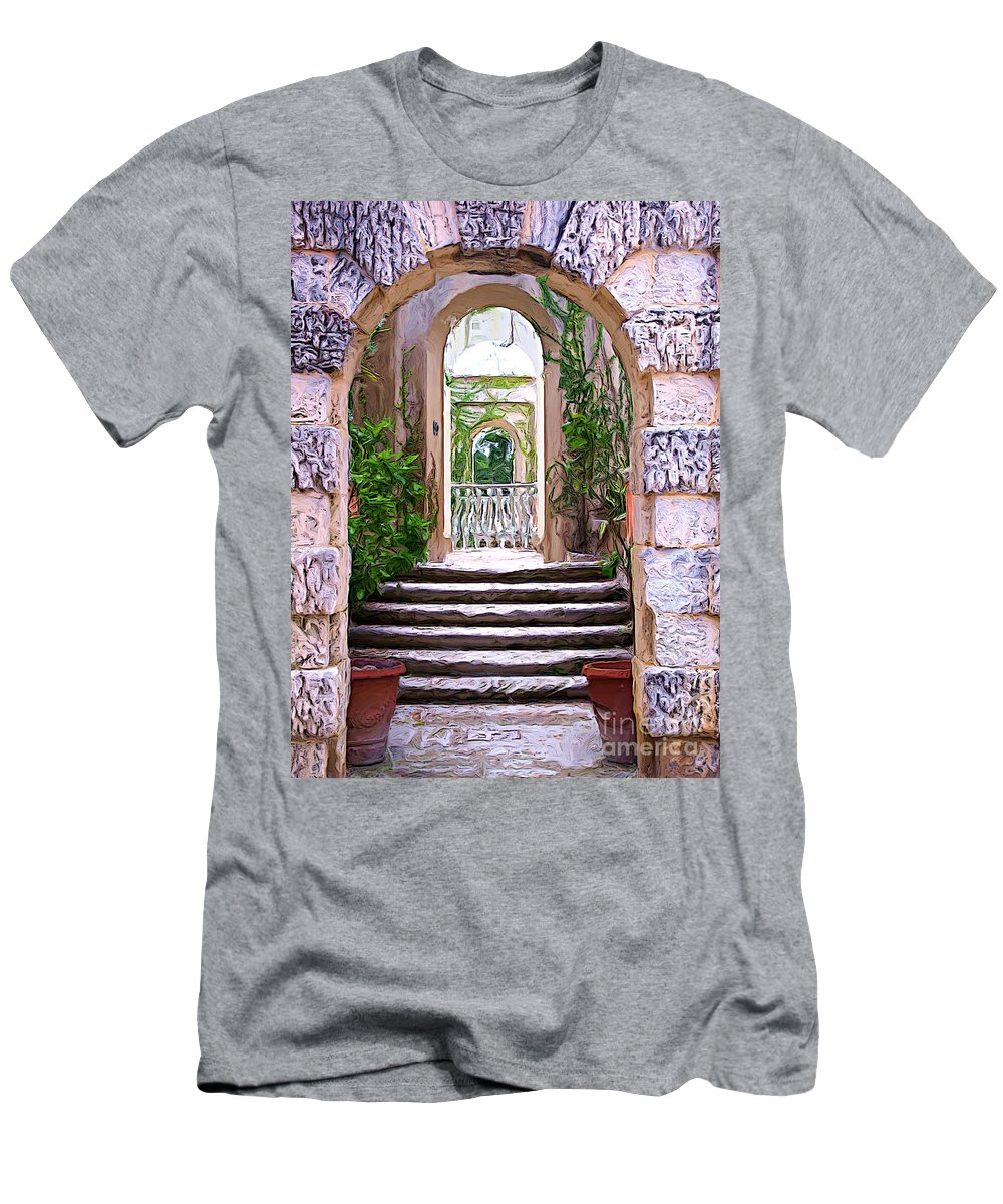 Villa Vizcaya Men's T-Shirt (Athletic Fit) featuring the photograph A Painting Villa Vizcaya Garden Arches by Mike Nellums