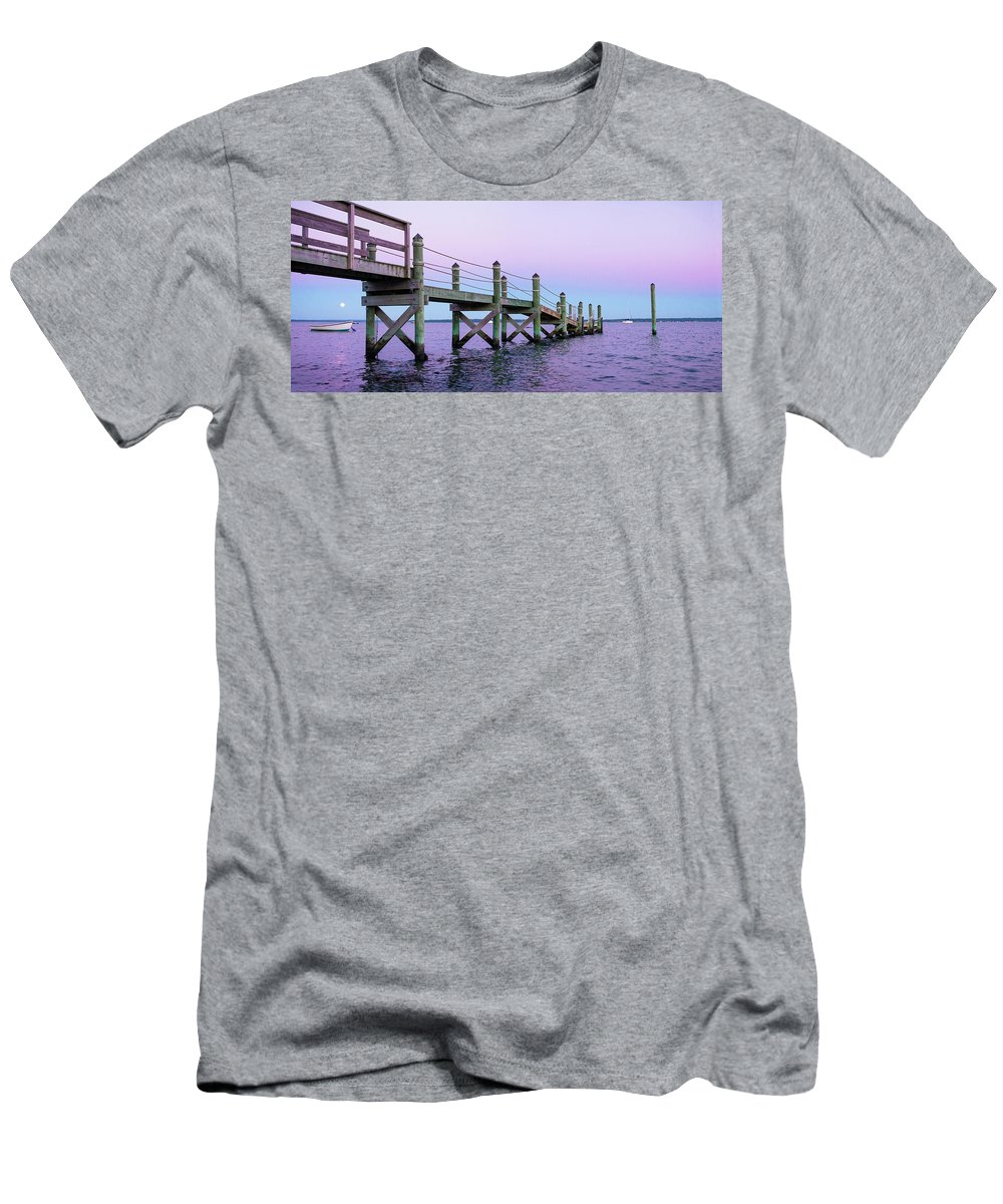 Wooden Men's T-Shirt (Athletic Fit) featuring the photograph A Quiet Evening At Dusk With A Moonrise by Cate Brown