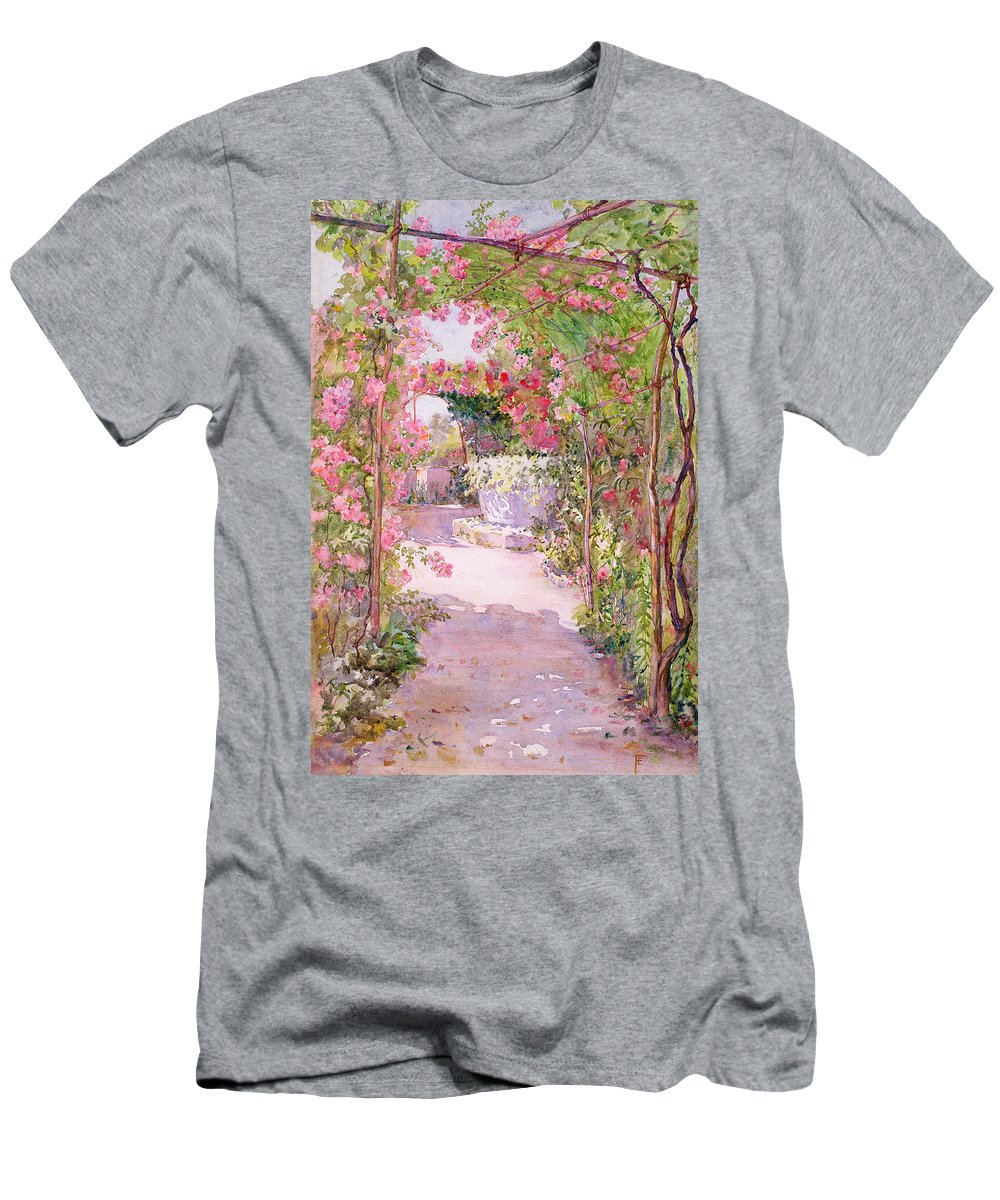 Roses Men's T-Shirt (Athletic Fit) featuring the painting A Rose Arbor And Old Well, Venice by Ellen Fradgley