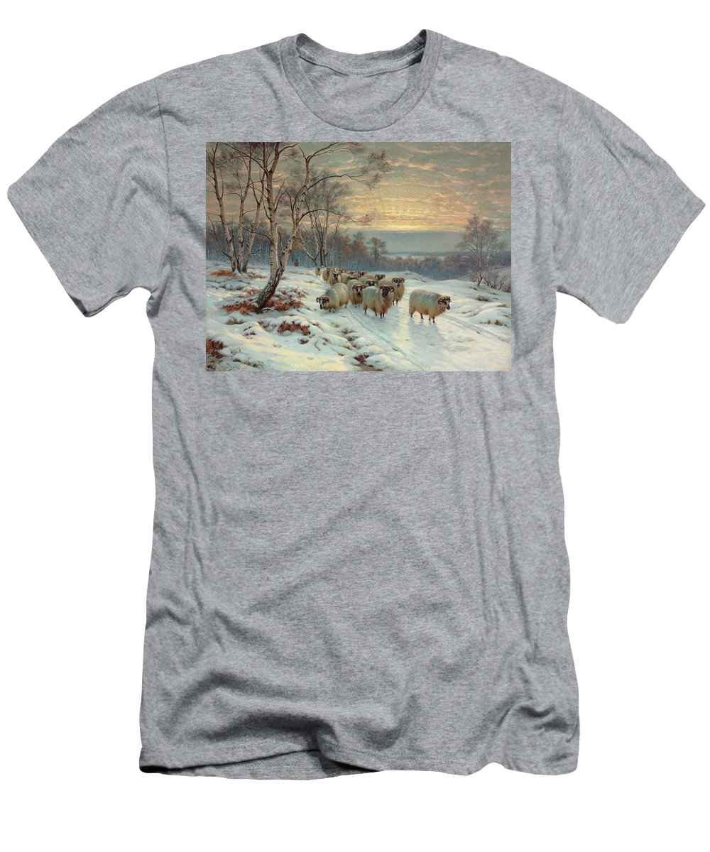 Shepherd Men's T-Shirt (Athletic Fit) featuring the painting A Shepherd With His Flock In A Winter Landscape by Wright Baker