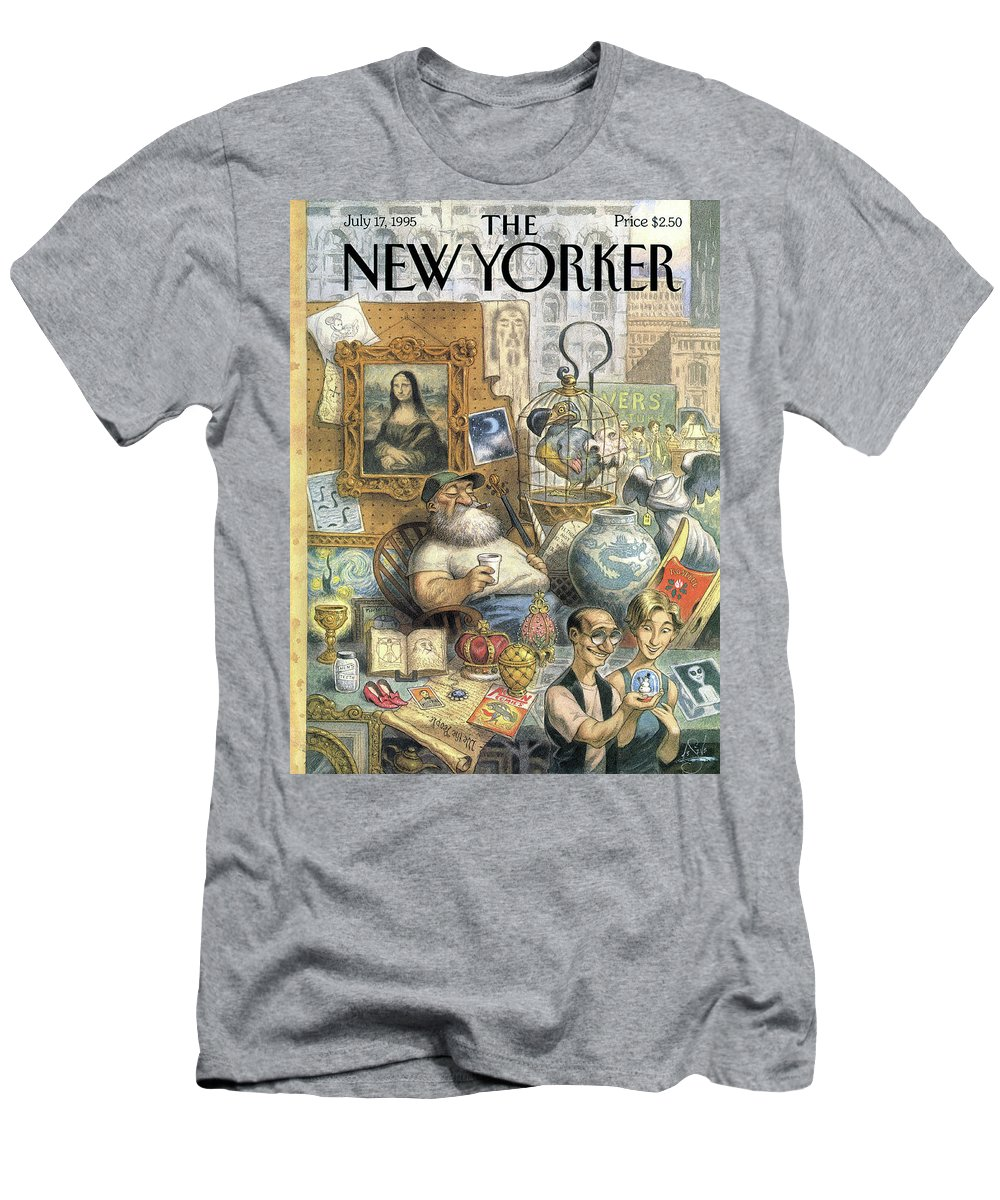 Treasure T-Shirt featuring the painting A Shopkeeper Sells Odd Items by Peter de Seve