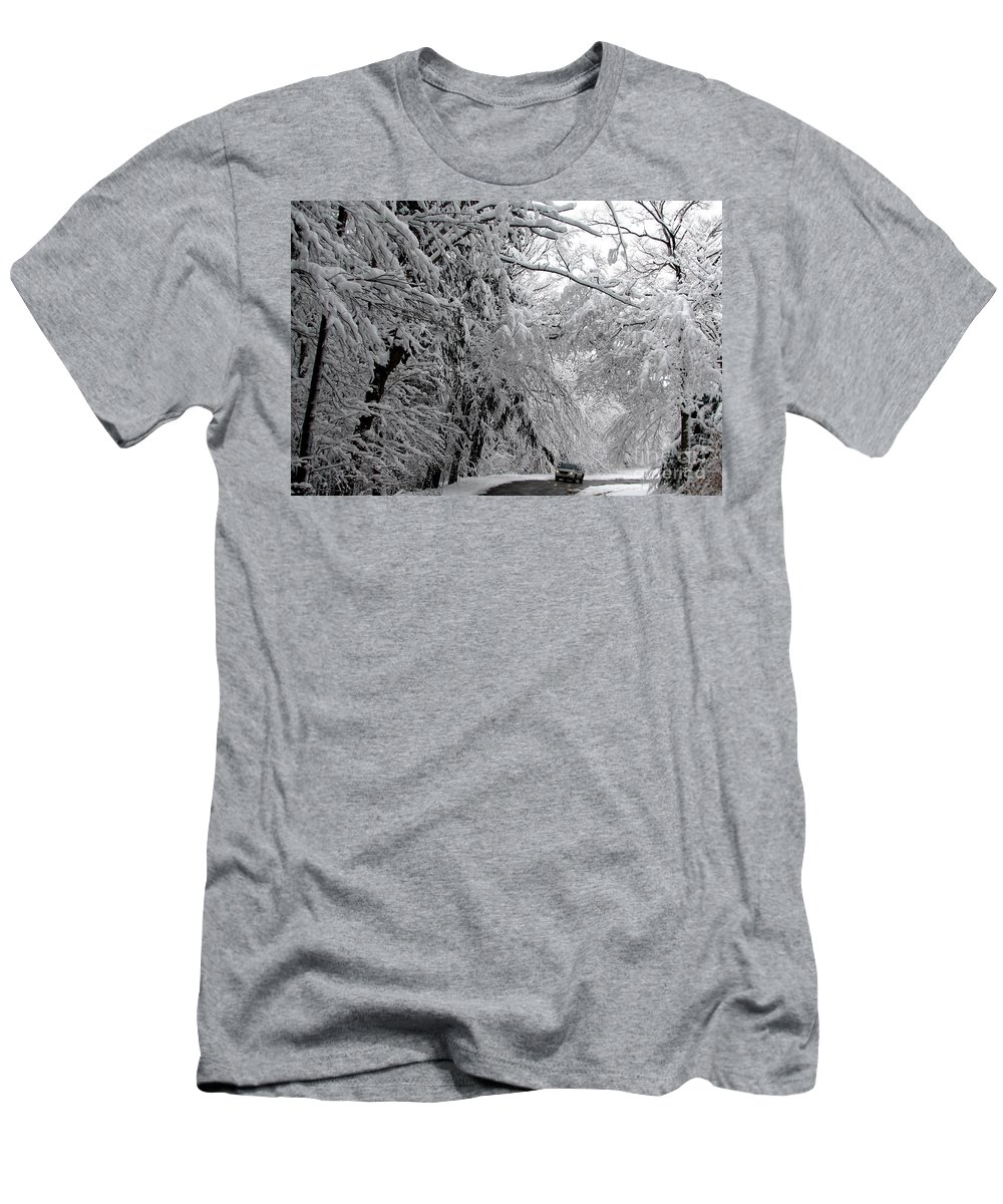 Snow Men's T-Shirt (Athletic Fit) featuring the photograph A Snowy Drive Through Chestnut Ridge Park by Rose Santuci-Sofranko