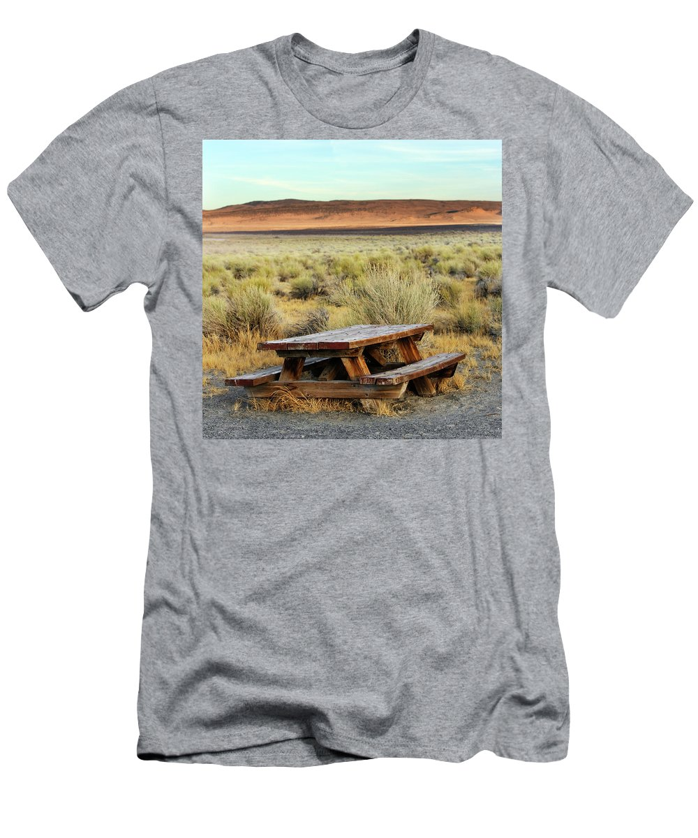 Bench Men's T-Shirt (Athletic Fit) featuring the photograph A Solitary Wooden Picnic Bench by Ron Koeberer