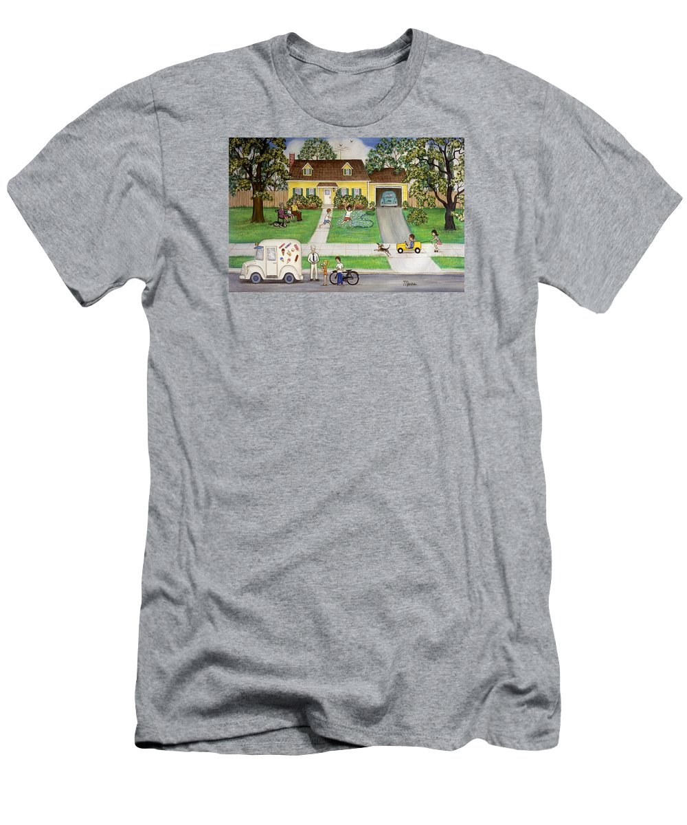 Folk Art Men's T-Shirt (Athletic Fit) featuring the painting A Summer Day by Linda Mears