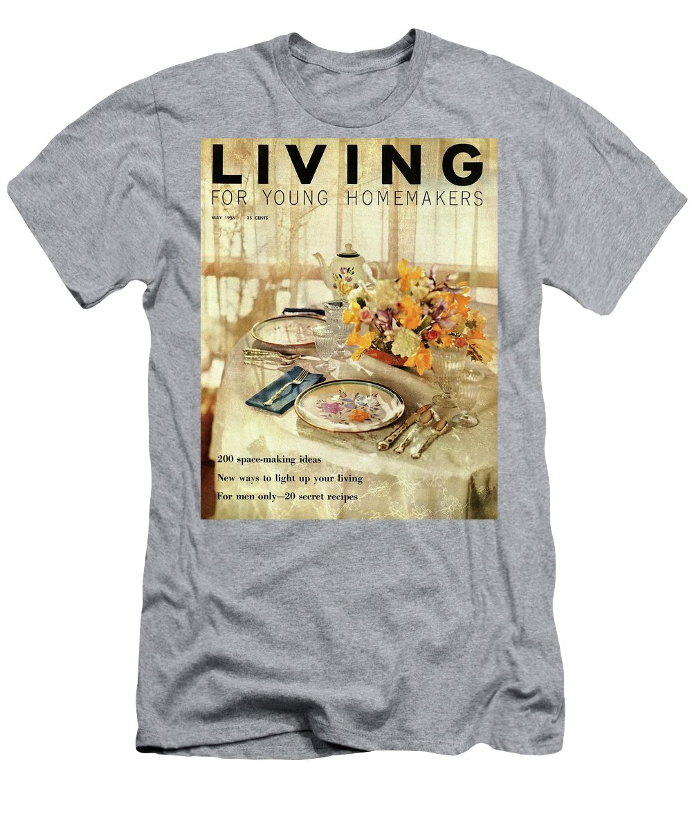 Dining Room T-Shirt featuring the digital art A Table Setting With A Floral Centerpiece by Luis Lemus