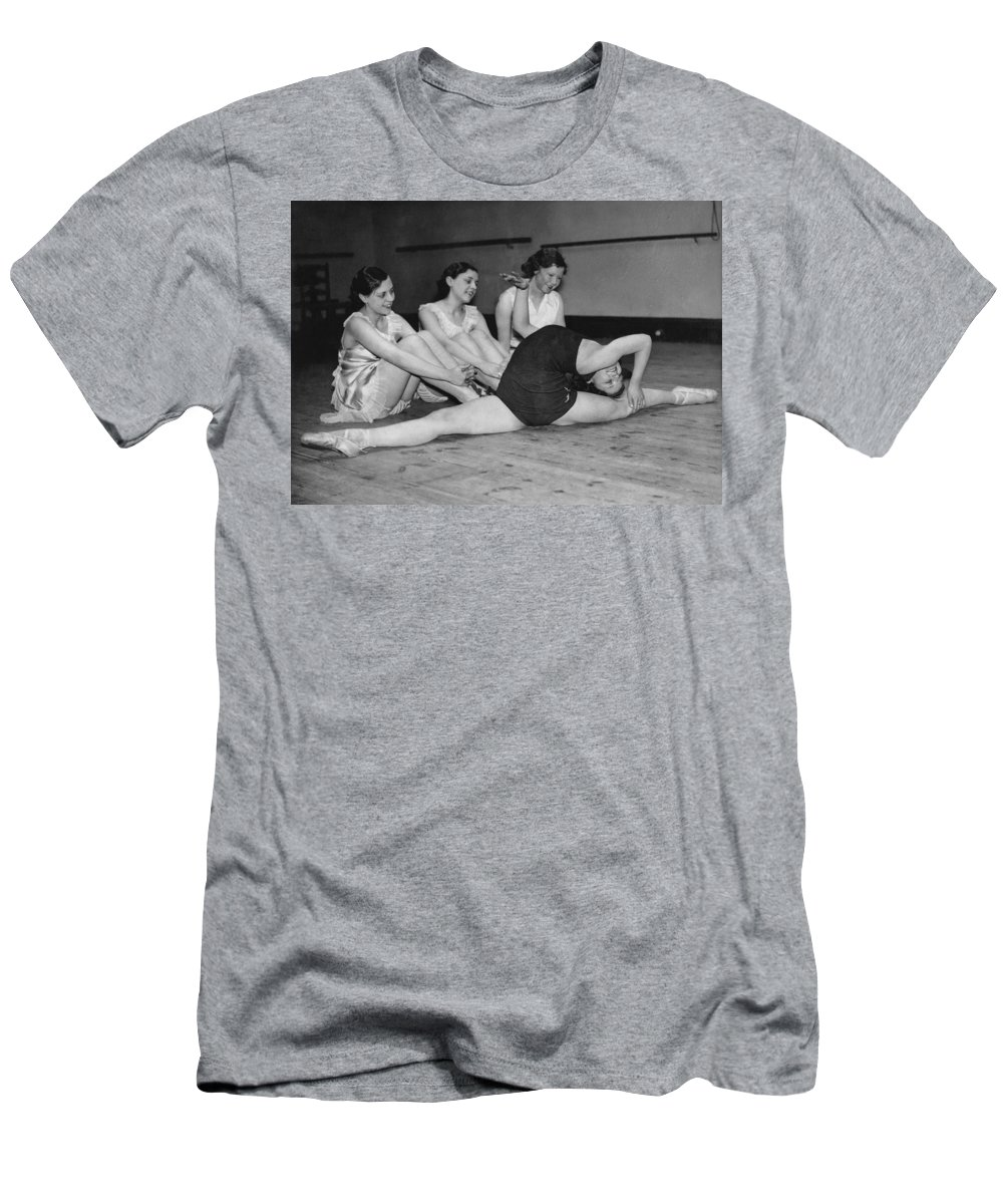 1920 Men's T-Shirt (Athletic Fit) featuring the photograph A Very Flexible Woman by Underwood Archives