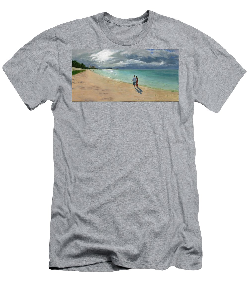 Tumon Bay Men's T-Shirt (Athletic Fit) featuring the painting A Walk At Tumon Bay Guam by Deborah Butts