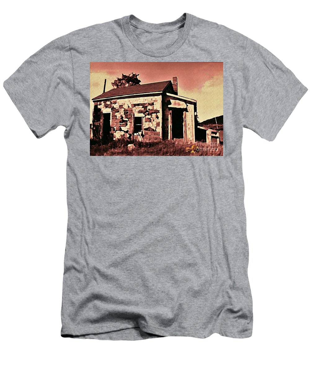 House Men's T-Shirt (Athletic Fit) featuring the digital art Abandoned Cape Breton House by John Malone