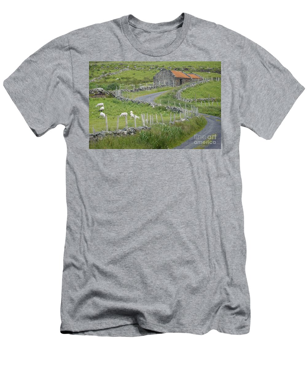 County Mayo Men's T-Shirt (Athletic Fit) featuring the photograph Abandoned Farm Building by John Shaw