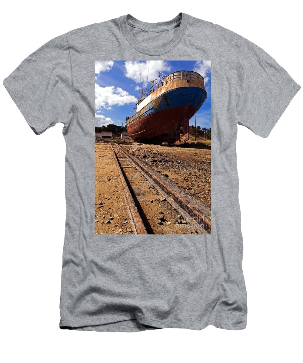 Shipyard Men's T-Shirt (Athletic Fit) featuring the photograph Abandoned Fishing Ship by Jose Elias - Sofia Pereira