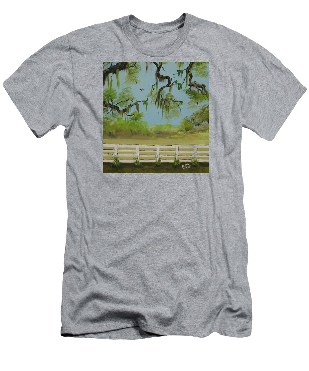 Landscape Men's T-Shirt (Athletic Fit) featuring the painting About To Rain by Calvin Ott