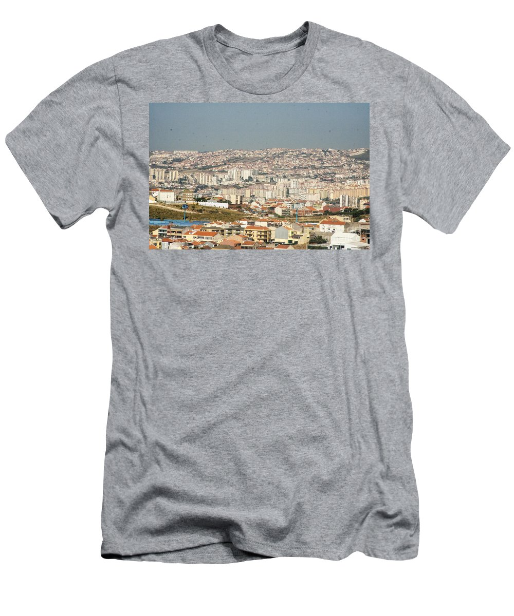 Flying Men's T-Shirt (Athletic Fit) featuring the photograph Above Lisbon Portugal by Darleen Stry