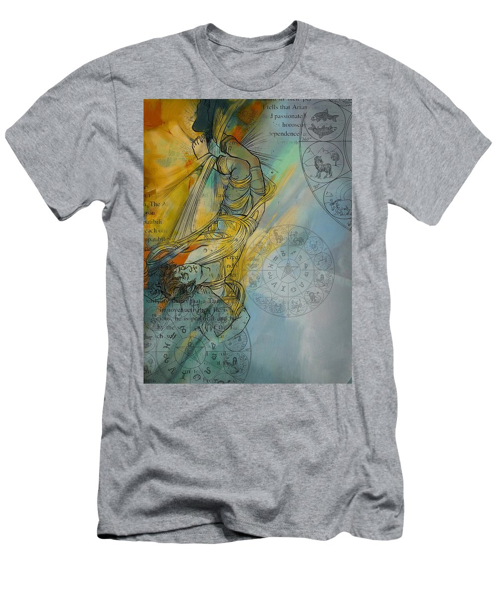 Torah Men's T-Shirt (Athletic Fit) featuring the painting Abstract Tarot Art 015 by Corporate Art Task Force