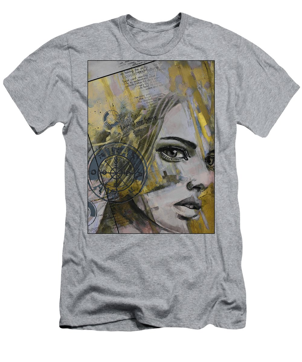 Numbers Men's T-Shirt (Athletic Fit) featuring the painting Abstract Tarot Art 022b by Corporate Art Task Force