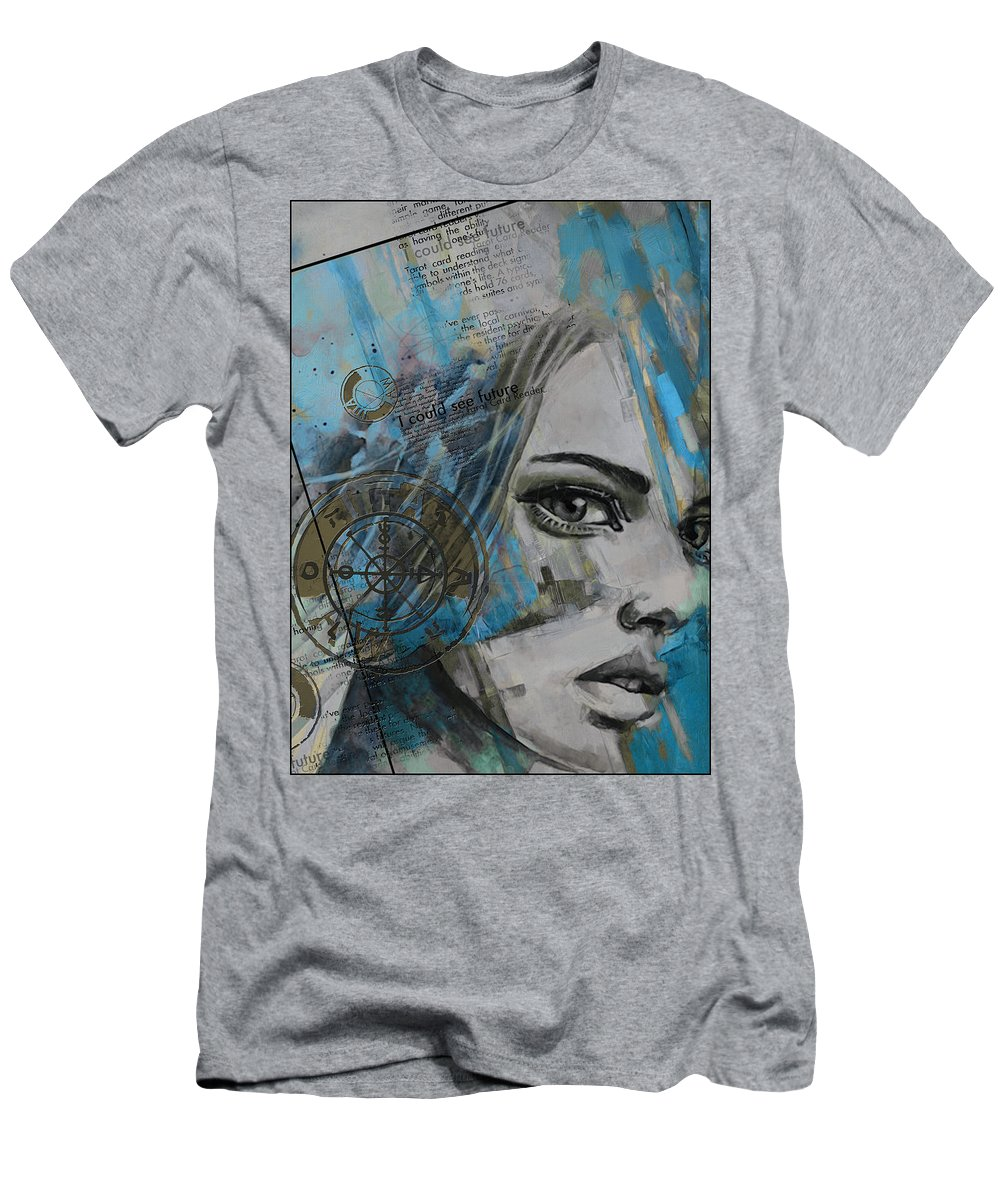 Numbers Men's T-Shirt (Athletic Fit) featuring the painting Abstract Tarot Art 022c by Corporate Art Task Force