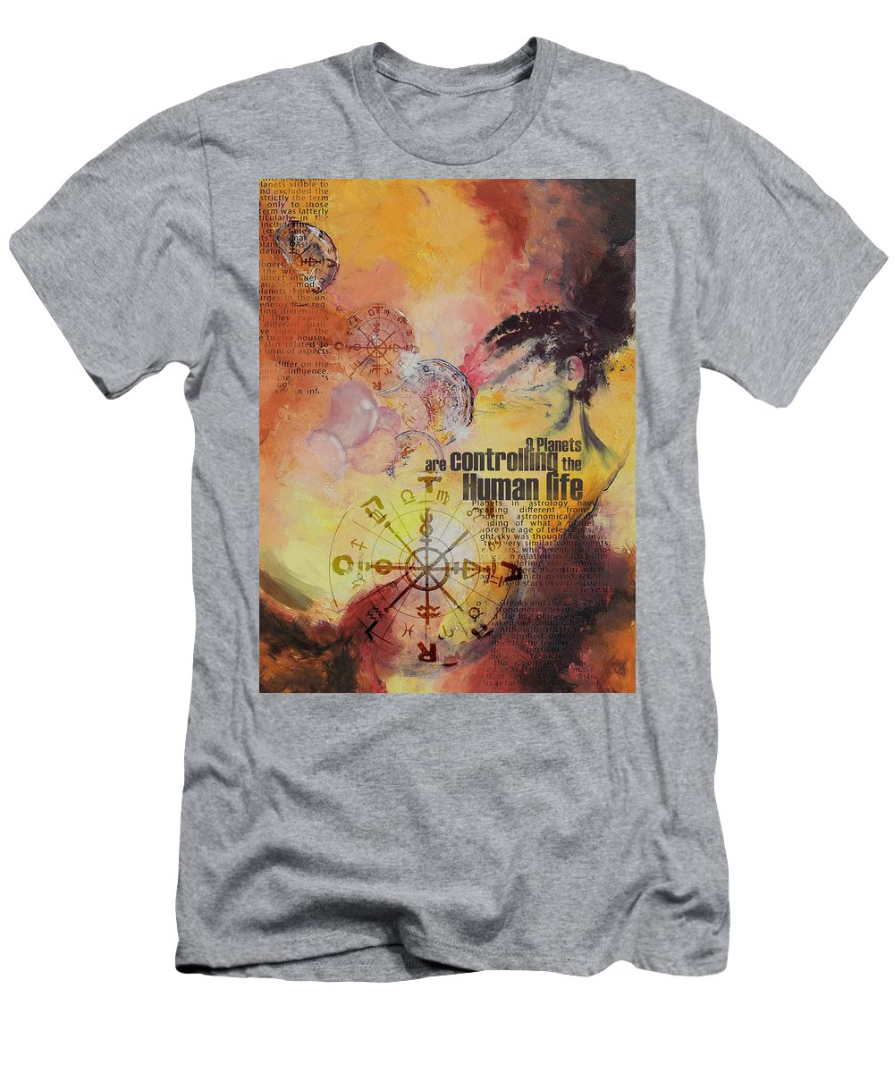 Numbers Men's T-Shirt (Athletic Fit) featuring the painting Abstract Tarot Art 023 by Corporate Art Task Force