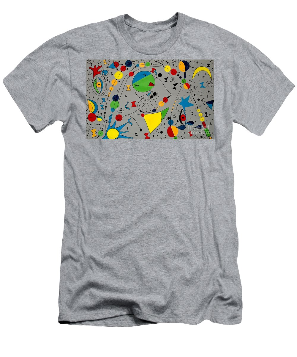 Abstraction Men's T-Shirt (Athletic Fit) featuring the painting Abstraction 575 - Marucii by Marek Lutek