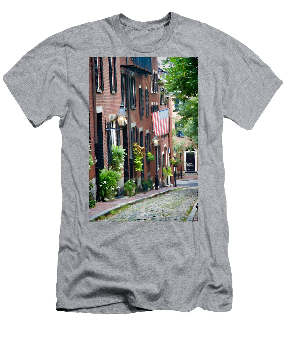 Boston Men's T-Shirt (Athletic Fit) featuring the photograph Acorn Street by Natalie Rotman Cote