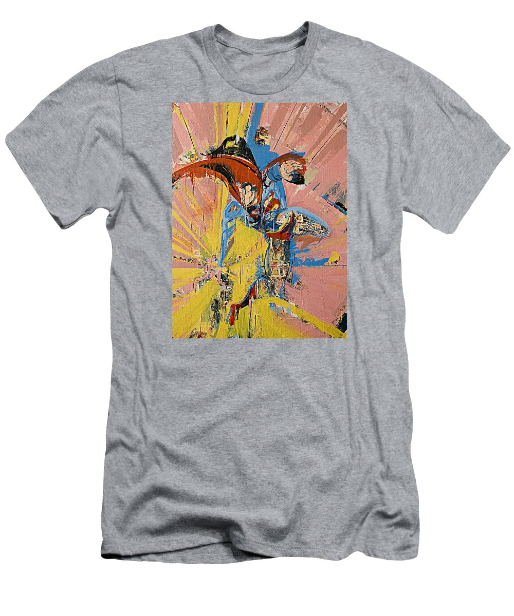 Abstract Art Paintings Men's T-Shirt (Athletic Fit) featuring the painting Action Abstraction No. 14 by David Leblanc