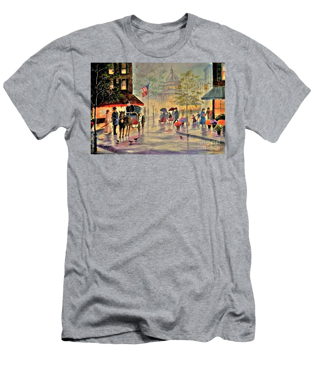 City Scene T-Shirt featuring the painting After The Rain by Marilyn Smith