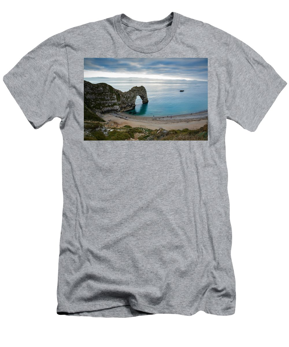 Durdle Men's T-Shirt (Athletic Fit) featuring the photograph Afternoon Cloud Breaking Up At Durdle Door by Ian Middleton