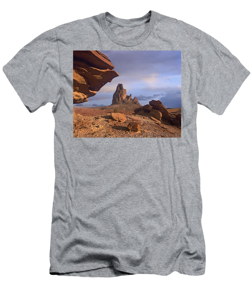 Feb0514 Men's T-Shirt (Athletic Fit) featuring the photograph Agathla Peak Monument Valley Arizona by Tim Fitzharris