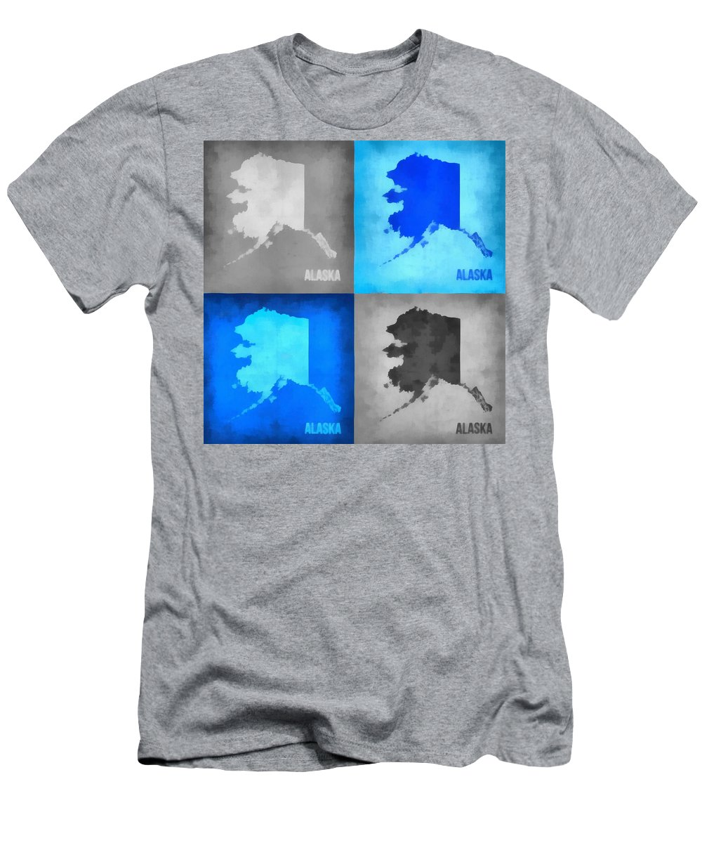 Alaska Map Art Men's T-Shirt (Athletic Fit) featuring the digital art Alaska Map Art by Dan Sproul