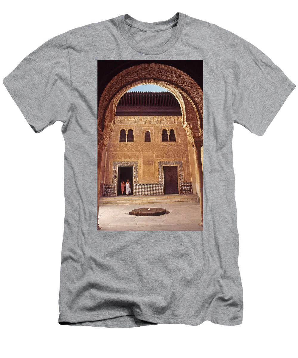 Spain Men's T-Shirt (Athletic Fit) featuring the photograph Alhambra Courtyard by Richard Thomas