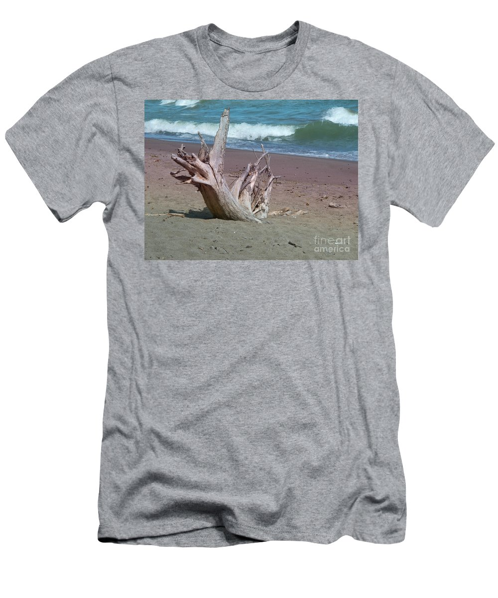 Driftwood Men's T-Shirt (Athletic Fit) featuring the photograph All That Is Left by Ann Horn