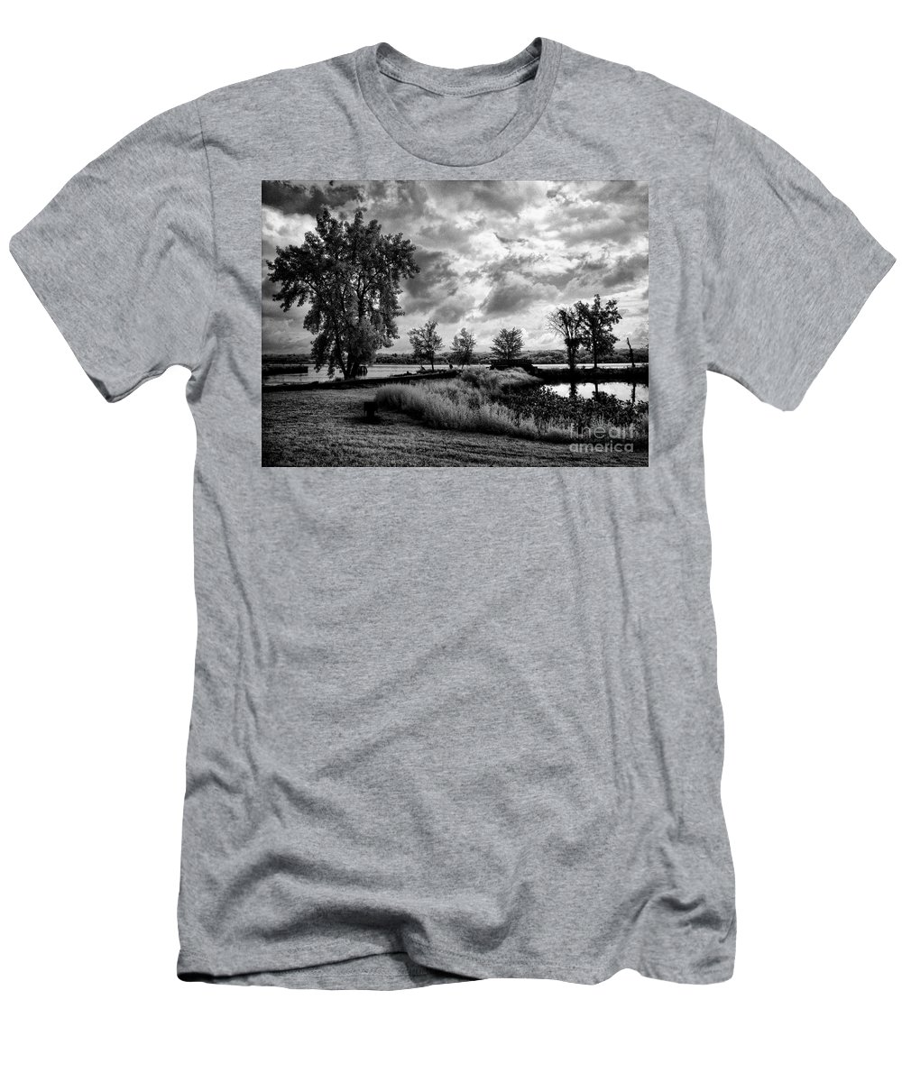 Ir Men's T-Shirt (Athletic Fit) featuring the photograph Along The River by Claudia Kuhn