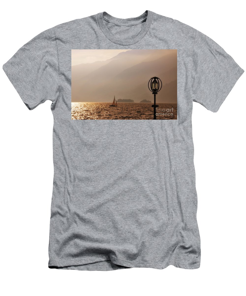 Lake Men's T-Shirt (Athletic Fit) featuring the photograph Alpine Lake With A Sailing Boat by Mats Silvan