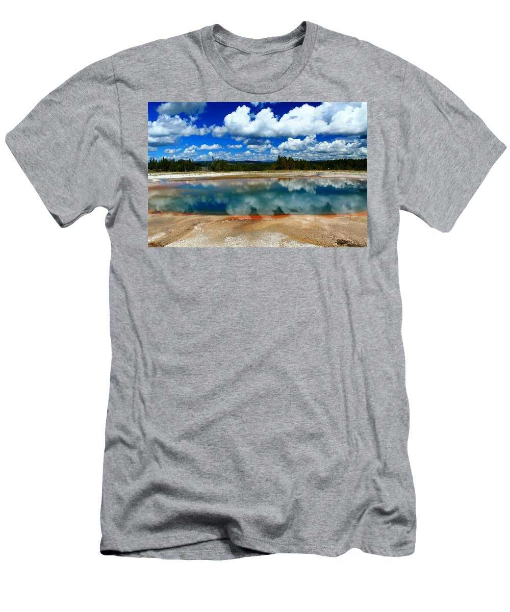Yellowstone National Park Men's T-Shirt (Athletic Fit) featuring the photograph Amazing Nature by Catie Canetti