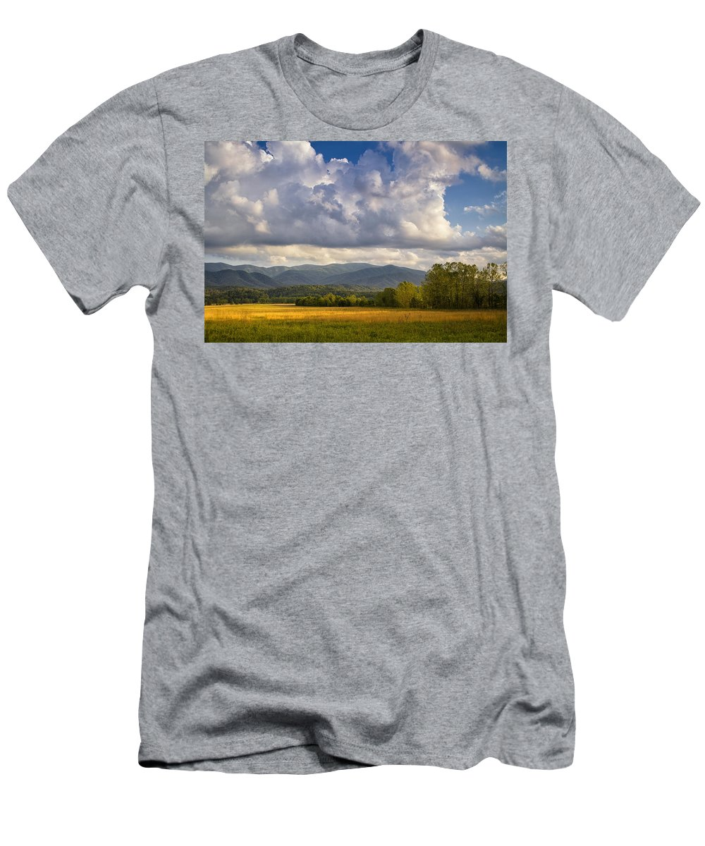 Smoky Mountains Men's T-Shirt (Athletic Fit) featuring the photograph Amber Waves by Andrew Soundarajan