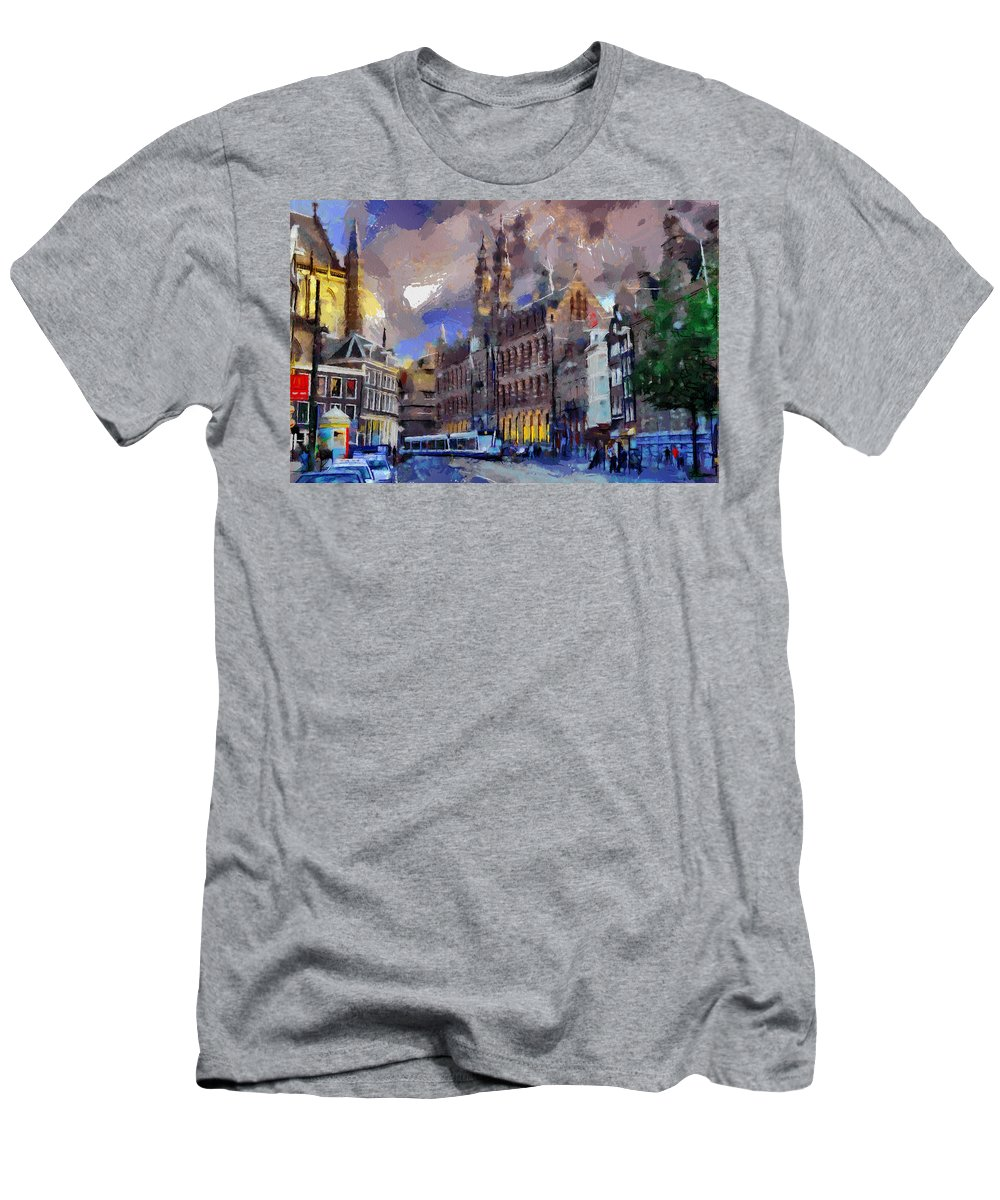 Amsterdam Daily Men's T-Shirt (Athletic Fit) featuring the painting Amsterdam Daily Life by Georgi Dimitrov
