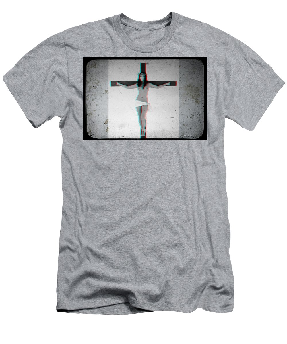 Anaglyph Men's T-Shirt (Athletic Fit) featuring the photograph Anaglyph Asian Female Jesus by Ramon Martinez