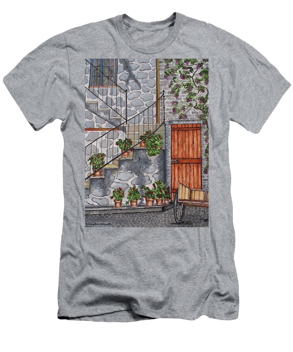 Print Men's T-Shirt (Athletic Fit) featuring the painting Ancient Grey Stone Residence by Ashley Goforth