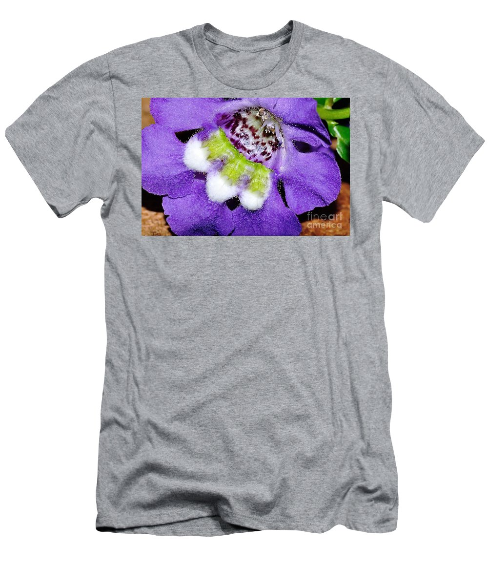 Photography Men's T-Shirt (Athletic Fit) featuring the photograph Angel Face Blue - With Extra Petals And 3 Stamen by Kaye Menner