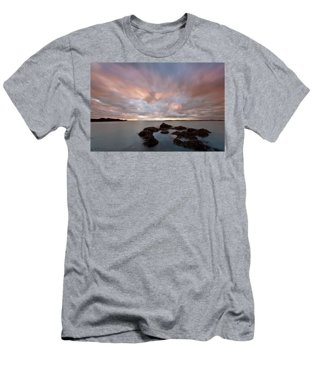 Rhosneigr Men's T-Shirt (Athletic Fit) featuring the photograph Anglesey Sunset by Beverly Cash