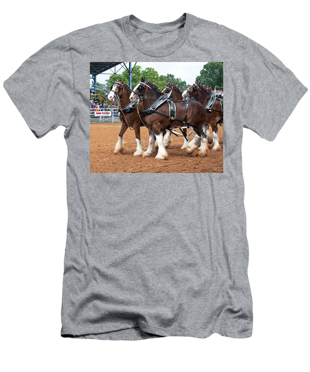 Anheuser-busch Men's T-Shirt (Athletic Fit) featuring the photograph Anheuser Busch Budweiser Clydesdale Horses In Harness Usa Rodeo by Sally Rockefeller