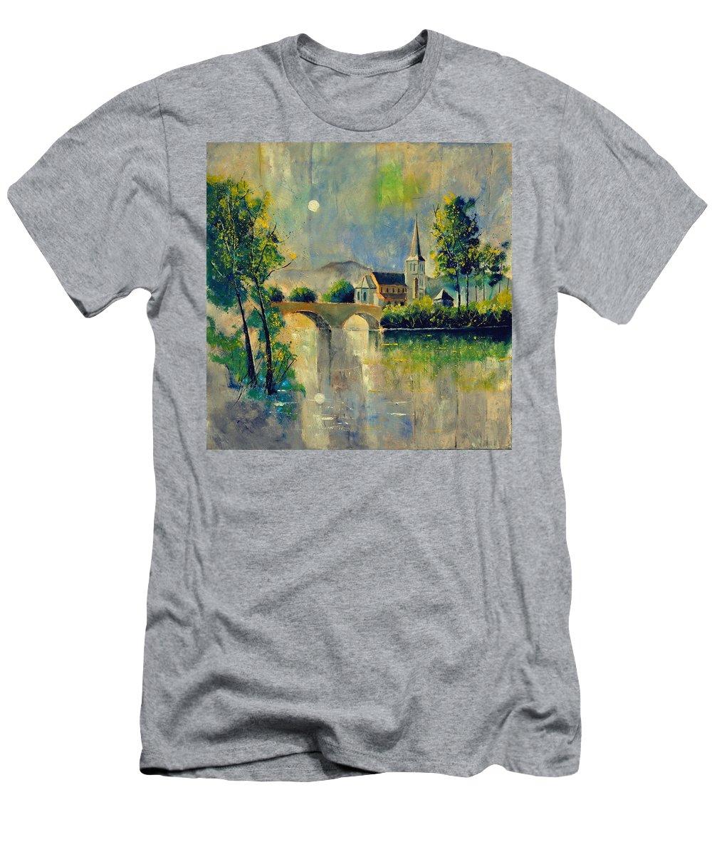 Landscape Men's T-Shirt (Athletic Fit) featuring the painting Ansermme Dinant 8821 by Pol Ledent