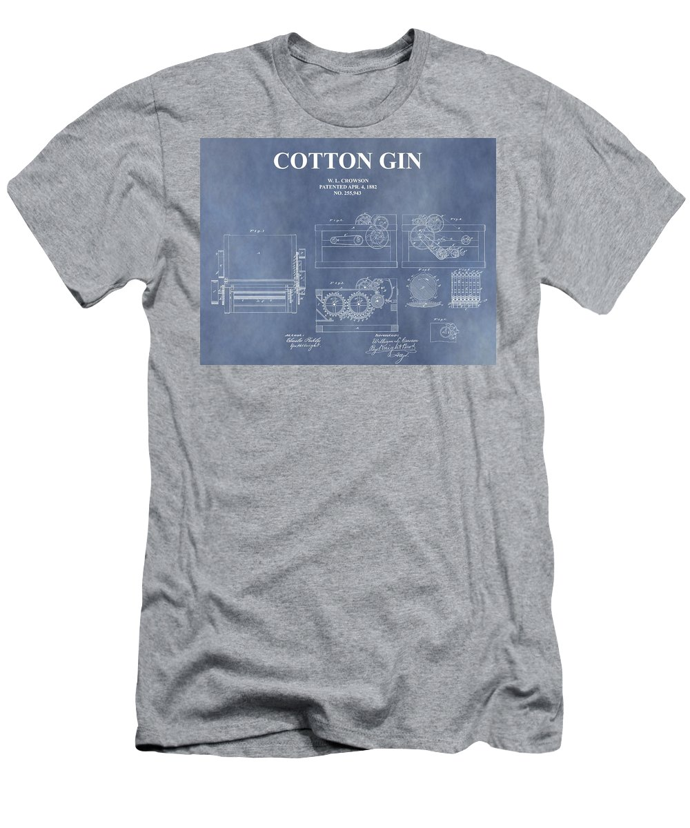 1882 Cotton Gin Patent T-Shirt featuring the mixed media Antique Cotton Gin Patent by Dan Sproul