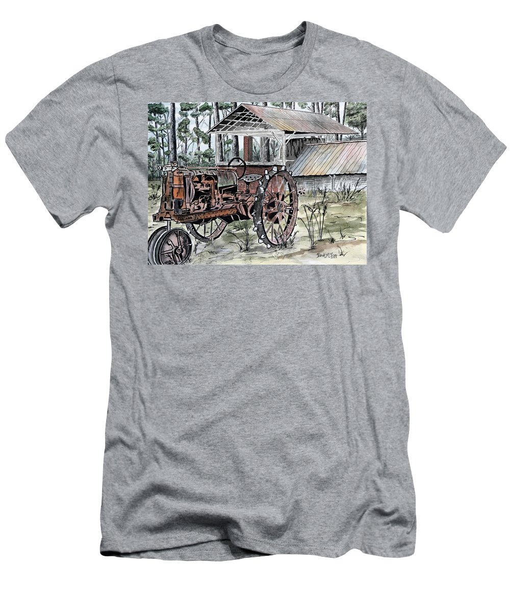 Tractor T-Shirt featuring the painting Antique Farm Tractor  by Derek Mccrea
