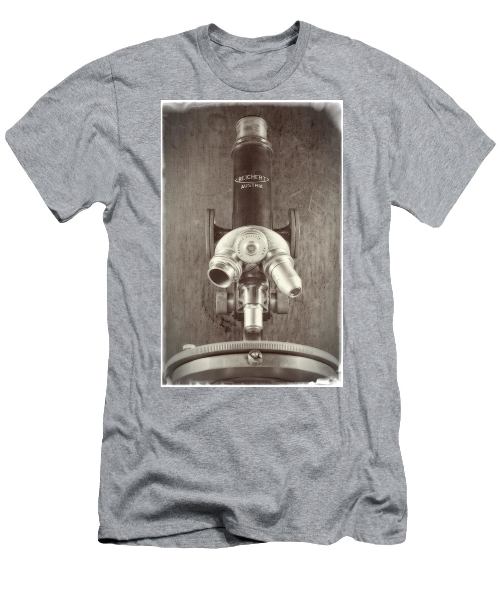 Microscope Men's T-Shirt (Athletic Fit) featuring the photograph Antique Microscope by Garry McMichael