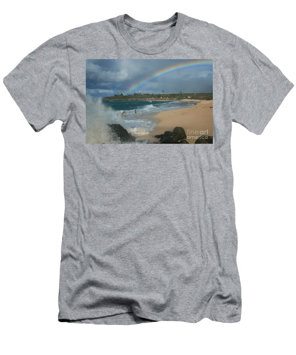 Aloha Men's T-Shirt (Athletic Fit) featuring the photograph Anuenue - Aloha Mai E Hookipa Beach Maui Hawaii by Sharon Mau