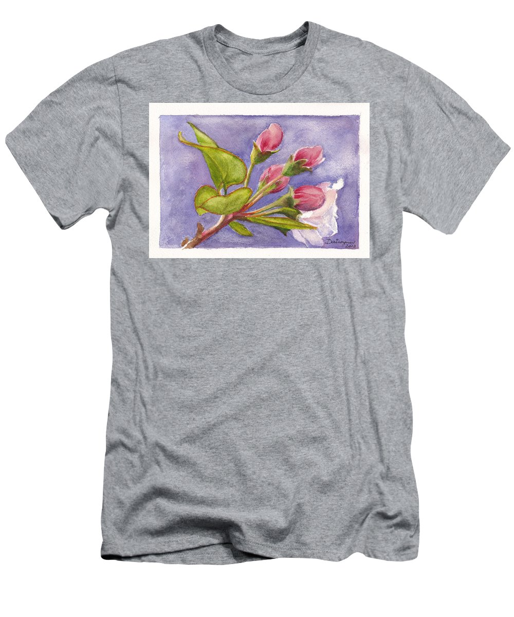 Apple Blossom Men's T-Shirt (Athletic Fit) featuring the painting Apple Blossom Buds by Dai Wynn