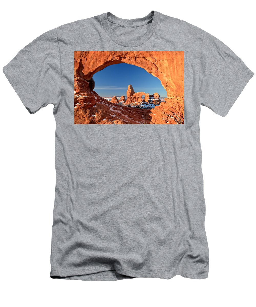Turret Arch Men's T-Shirt (Athletic Fit) featuring the photograph Arches Sandstone Frame by Adam Jewell