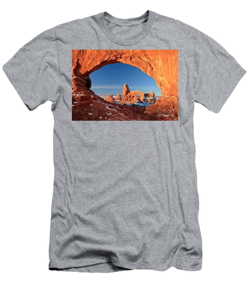 North Window Arch Men's T-Shirt (Athletic Fit) featuring the photograph Arches Window Frame by Adam Jewell