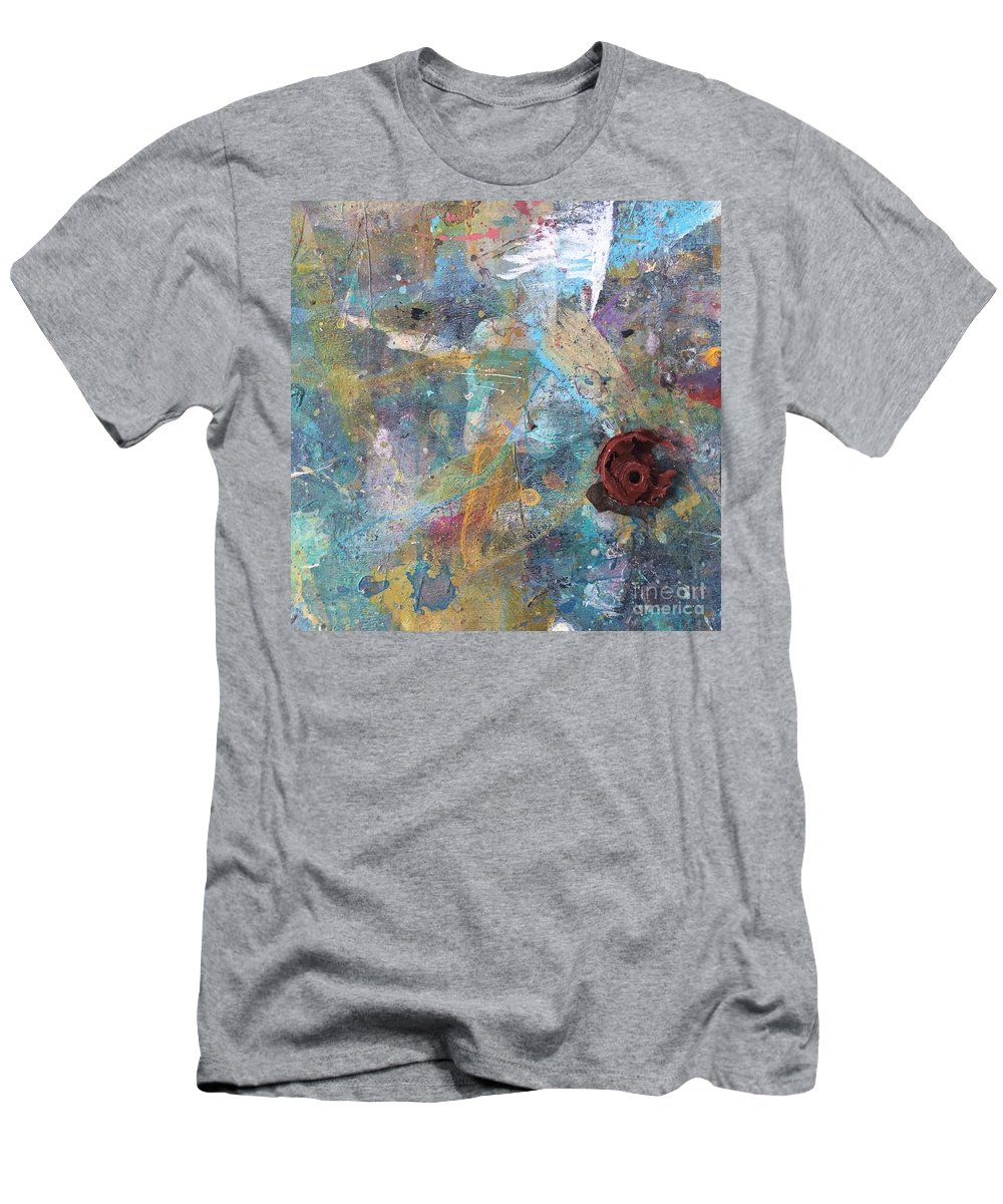 Art Table Men's T-Shirt (Athletic Fit) featuring the photograph Art Table With Dried Paint by Robin Maria Pedrero