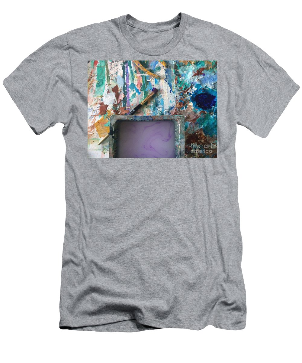 Art Table Men's T-Shirt (Athletic Fit) featuring the photograph Art Table With Water And Brush by Robin Maria Pedrero